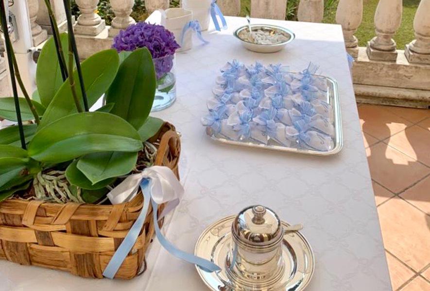 Composizione floreali per batteisimo presso Villa Umberto, Abbiategrasso
